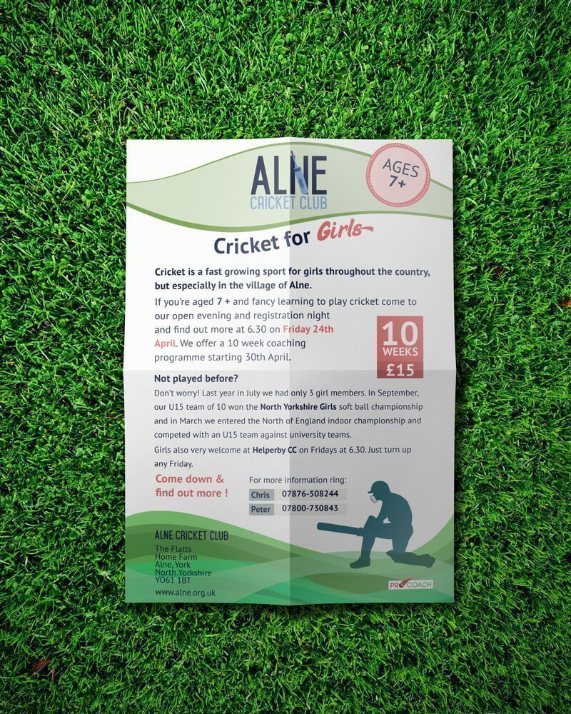 Alne Cricket for Girls - Poster Design Top View