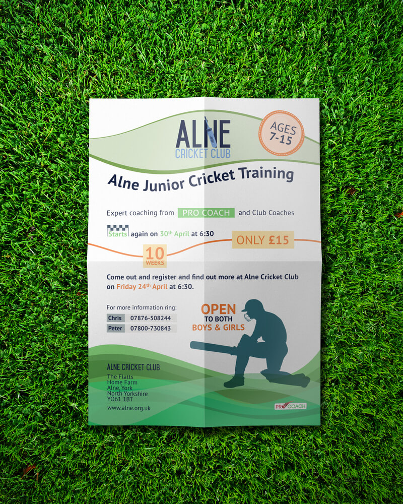 Alne Junior Cricket Training - Poster Design Top View