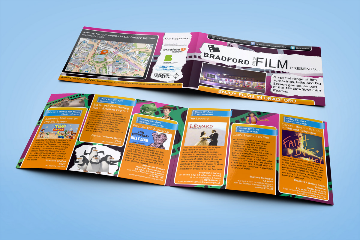 Bradford City of Film - Brochure Design Front & Back 2