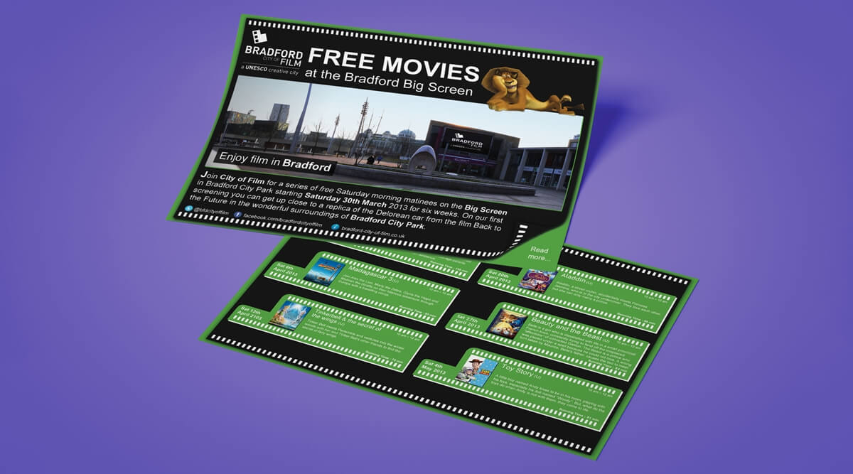 Bradford City of Film Leaflet Films Mockup