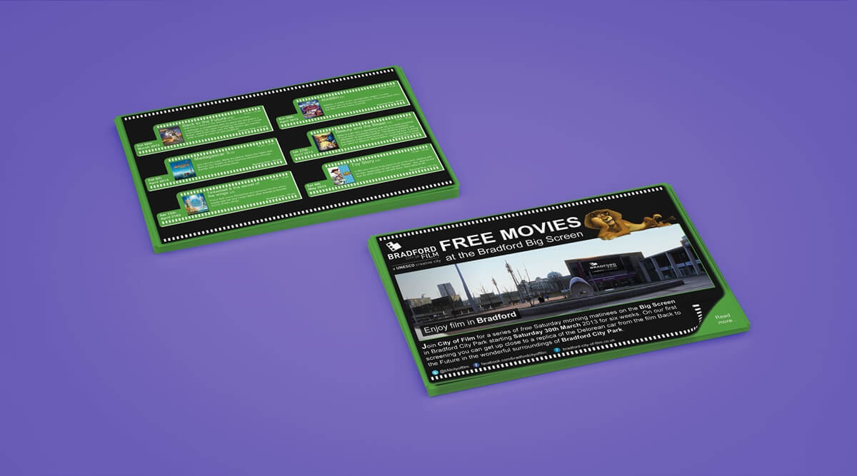Bradford City of Film Leaflet Films Mockup Front & Back
