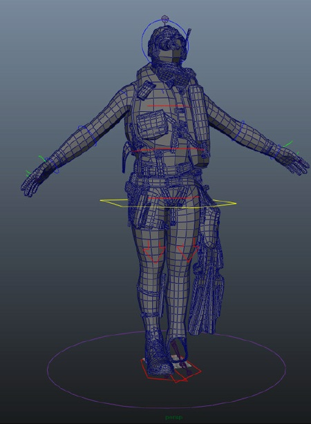 Diver imported in Maya