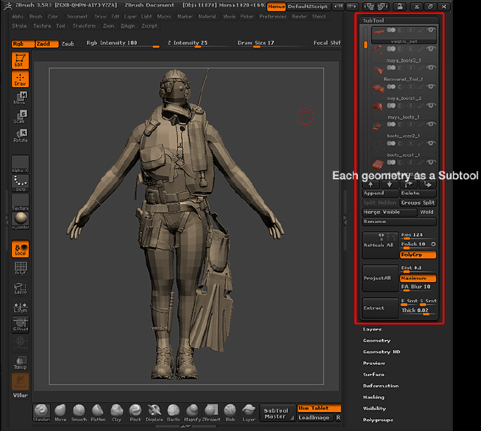Zbrush Diver Geometry Subtool